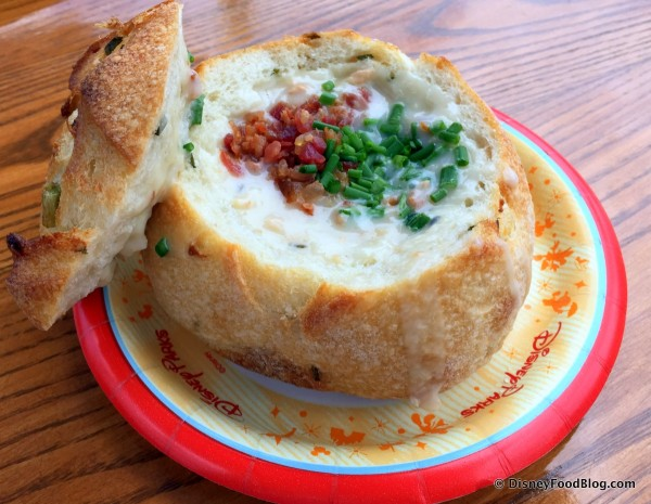 Clam Chowder in a Bread Bowl -- Under the Lid
