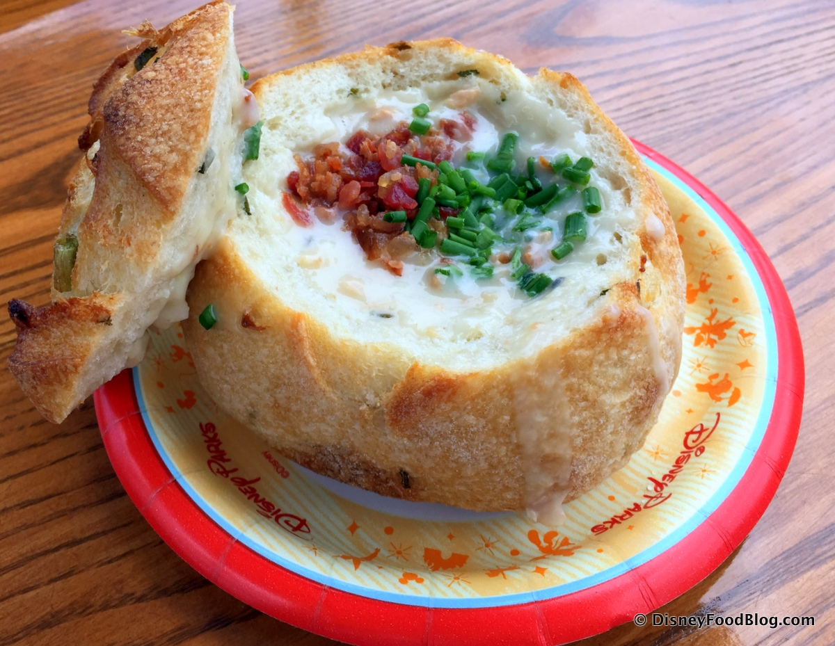 Image result for clam chowder bread bowl disneyland