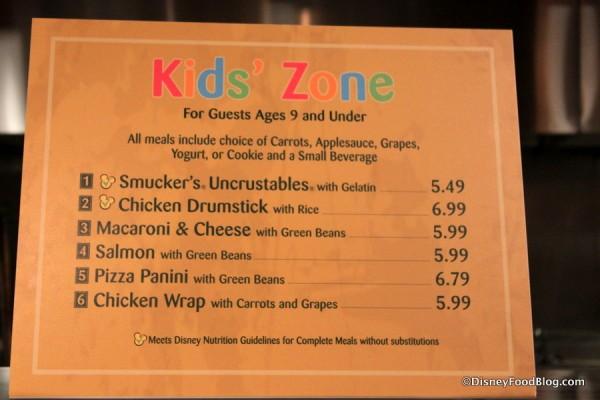 Kids Zone Menu -- Click to Enlarge