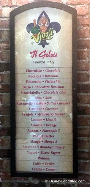 Vivoli Gelato Menu -- Click to Enlarge