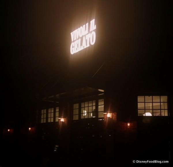 Vivoli Gelato Sign at Night
