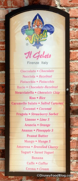 Flavor choices listed outside