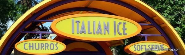 Italian Ice kiosk sign