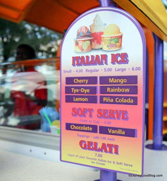 Italian Ice Kiosk menu