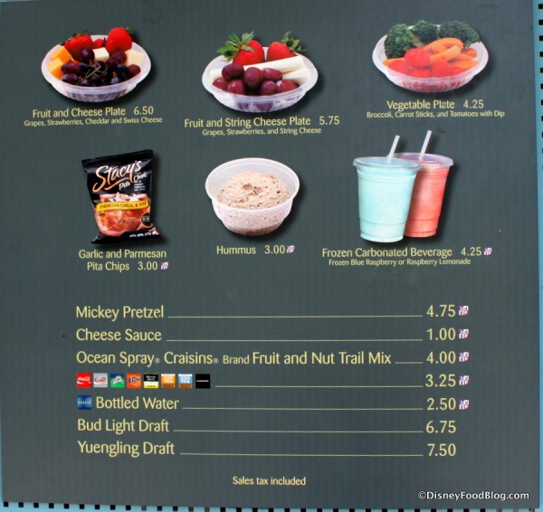 Better-for-you Snack Stand menu