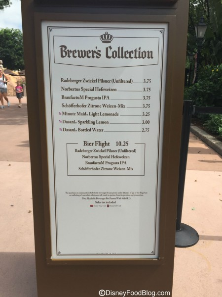 2015 Brewer's Collection Menu