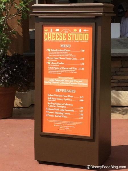 2015 Cheese Studio Menu