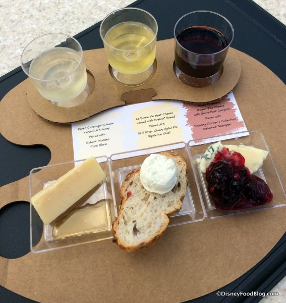 Trio of Artisan Cheese with wine pairings