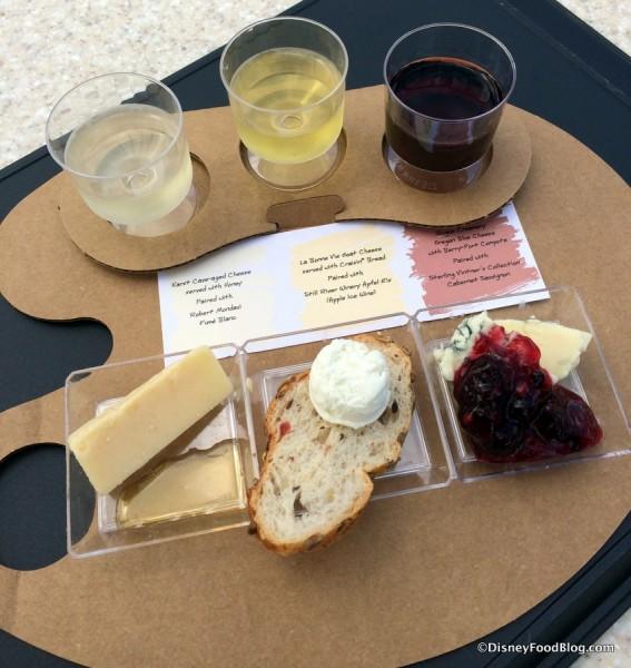 Trio of Artisan Cheese with wine pairings