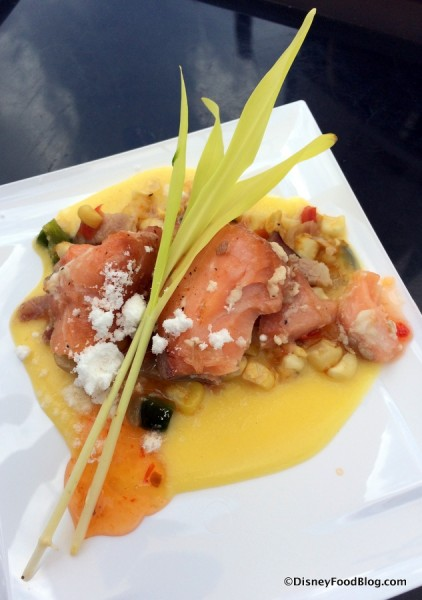 Olive Oil Poached Salmon with Fresh Corn Bacon and Pepper Jam