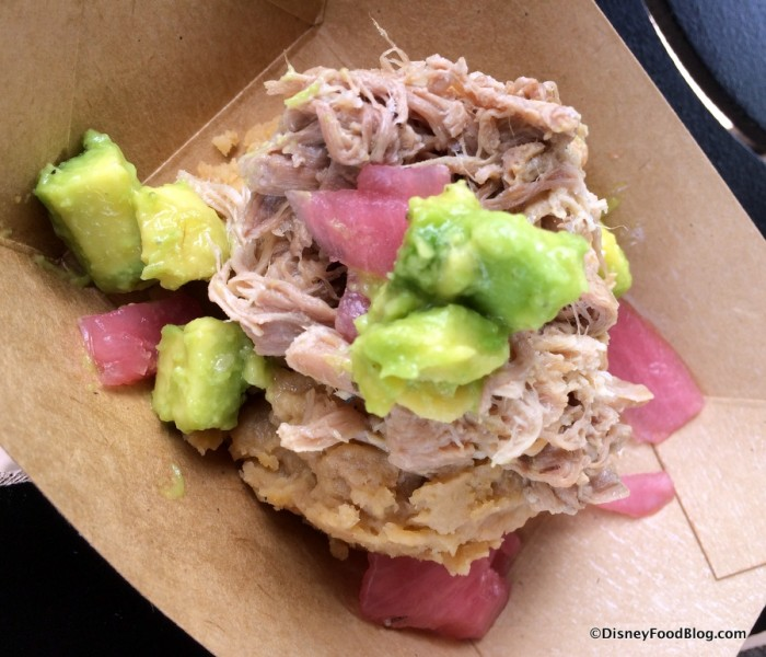Roasted Pork with Mangu Pickled Red Onions and Avocado
