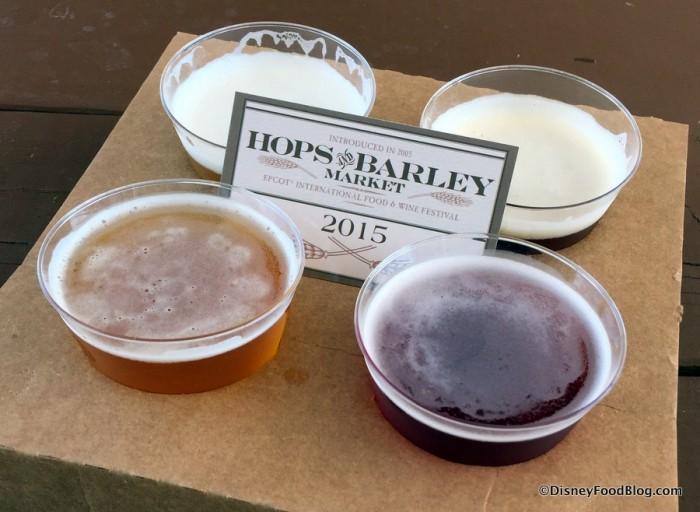 Beer Flight: SweetWater Take Two Pils, Goose Island Honkers Ale, Samuel Adams Rebel IPA, and Dogfish Head Sixty One IPA