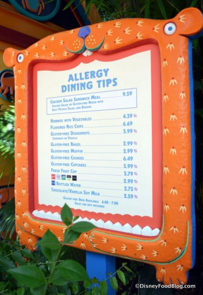 Allergy-Friendly Kiosk menu