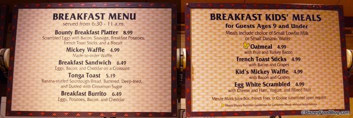 Captain Cook's Breakfast Menu