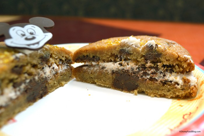 Chocolate-Chip Cookie Sandwich Cut in Half