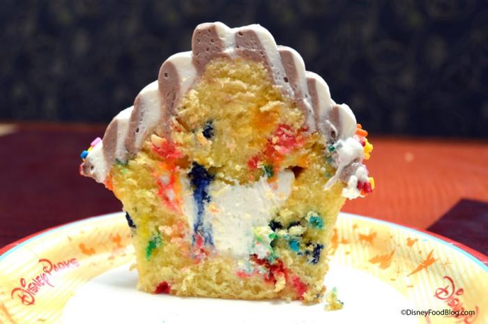 Swirl Cone Cupcake Cut in Half