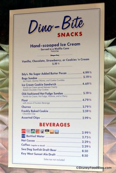 Dino-Bite Snacks menu
