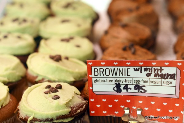 Brownie Cupcakes selections in case