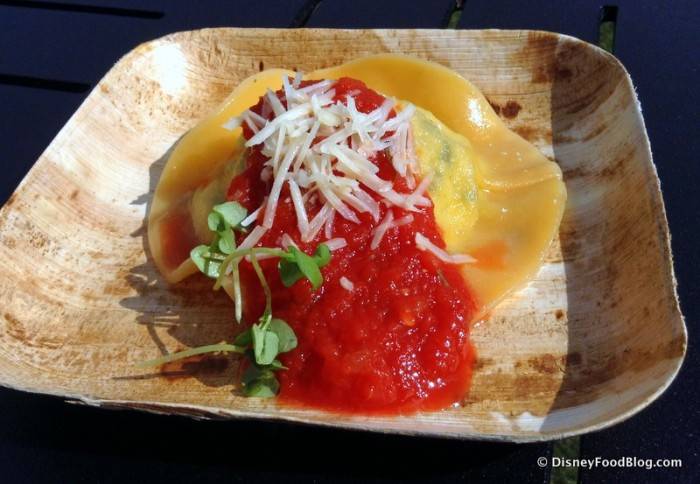 Ricotta and Zucchini Ravioli with Tomato Sauce