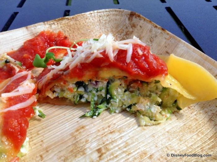 Ricotta and Zucchini Ravioli with Tomato Sauce -- Cross Section
