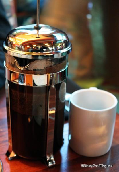 French Press Coffee at Kona Cafe