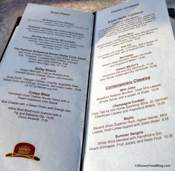 Hollywood Brown Derby Lounge menu