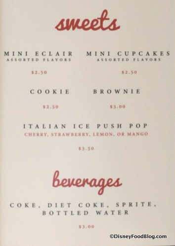 Java Sweets menu