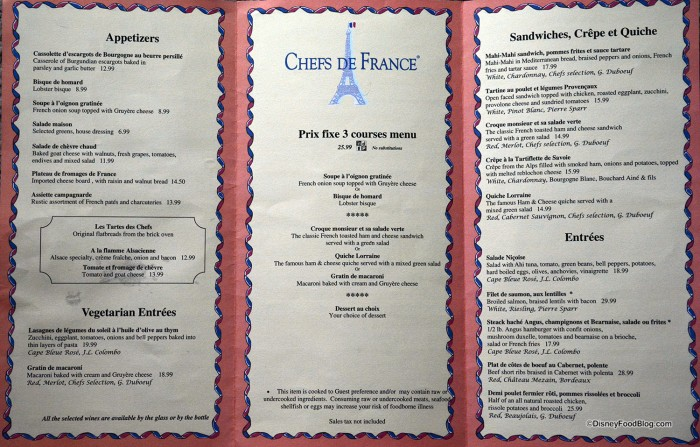 Chefs de France menu