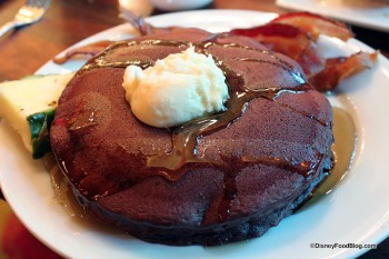 Red Velvet Pancakes drizzled with syrup