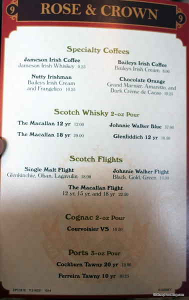 Rose and Crown Specialty Drinks