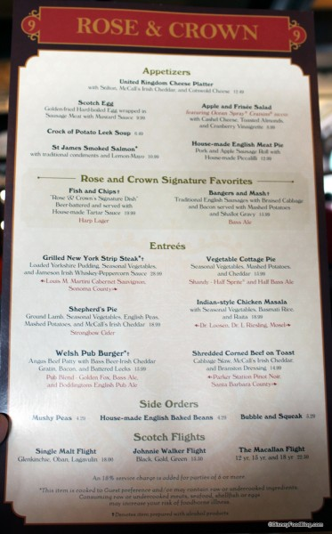 Rose and Crown Menu