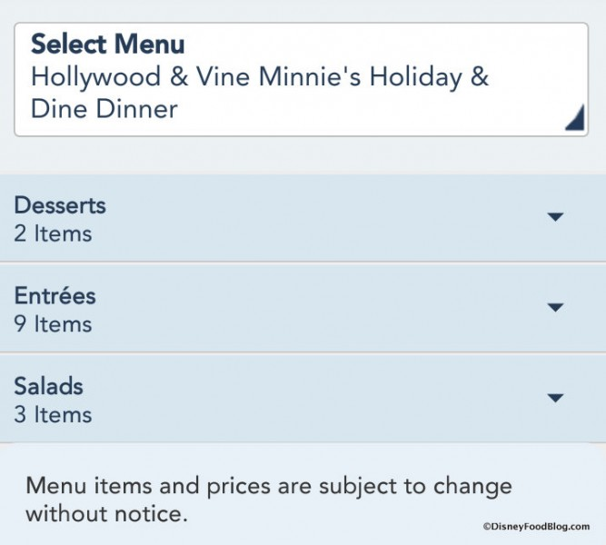 Minnie's Holiday & Dine menu screenshot