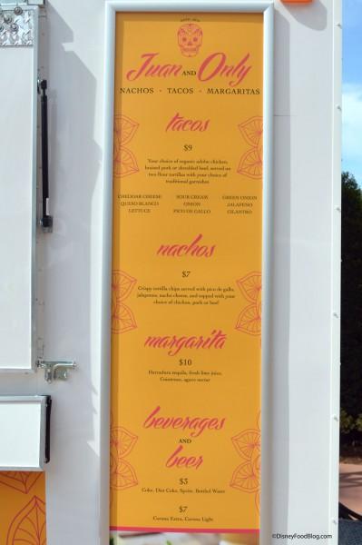 Juan and Only menu