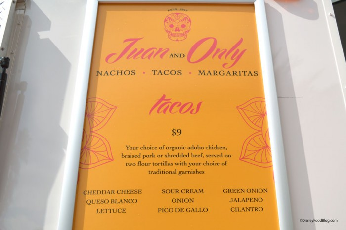 Juan and Only Tacos Menu
