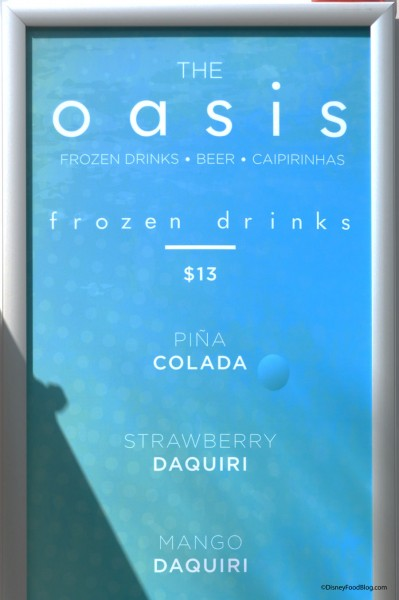 The Oasis Frozen Drink Menu