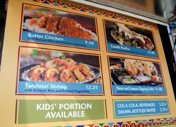 Close-up on menu