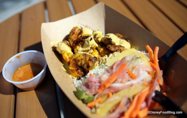 Tandoori Shrimp with Pickled Vegetables and Basmati Rice