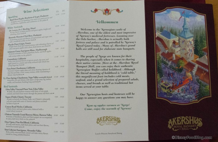Back of the menu