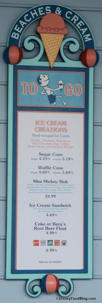 Beaches and Cream To Go Menu