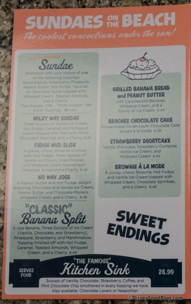 Beaches and Cream Dessert Menu