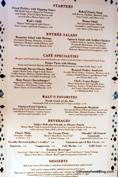 Carnation Cafe Lunch and Dinner Menu -- Click to Enlarge