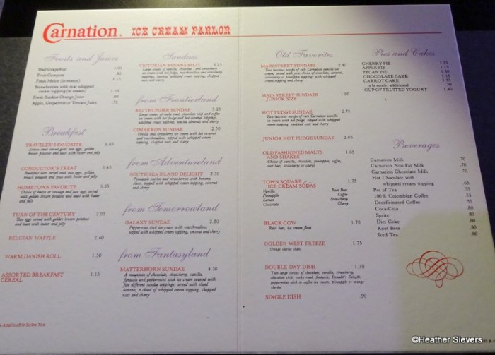 Carnation Ice Cream Parlor Menu