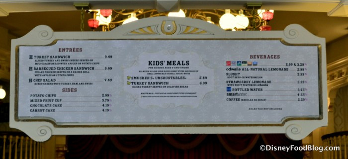 Diamond Horseshoe Lunch Menu