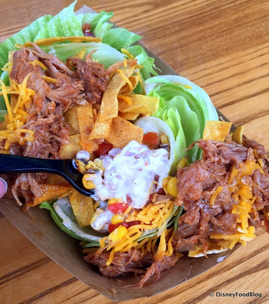 Fairfax Salad with the Shredded Pork Barbecue Pushed to the Side