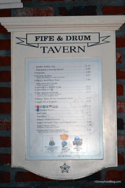Fife & Drum Menu