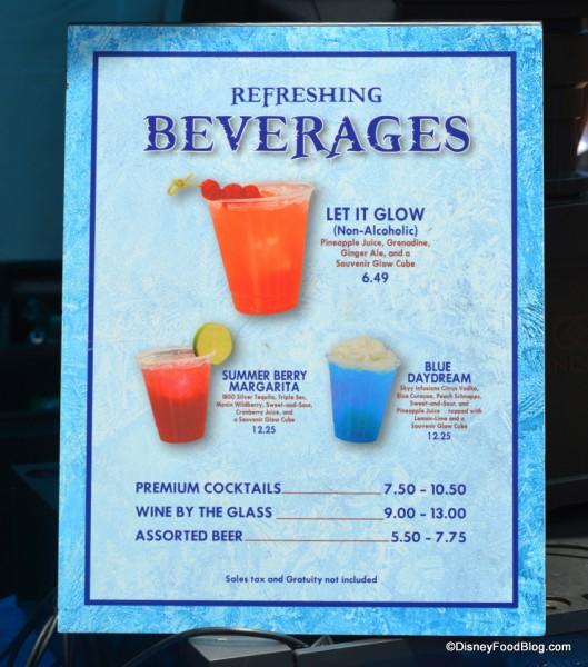 Blue Daydream on the Frozen Beverage Menu