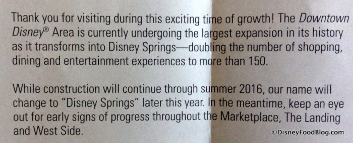 Disney Springs transformation information text in Map