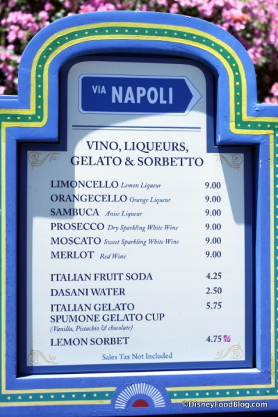 Italy Snack Stand menu