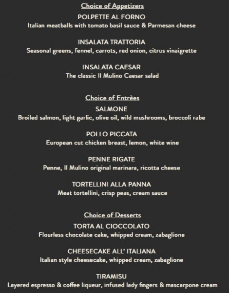Il Mulino Magical Dining Month Menu