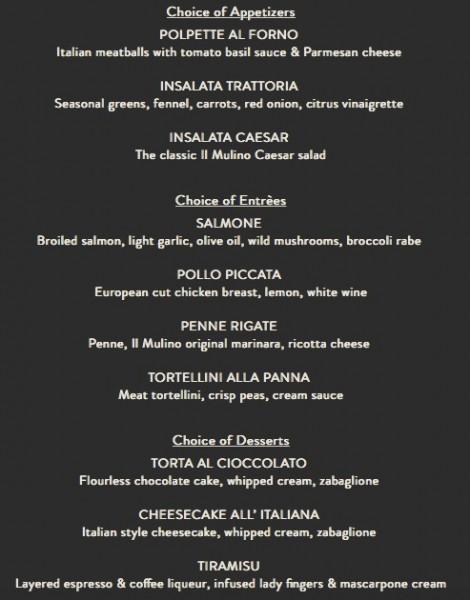 Il Mulino Magical Dining Month Menu